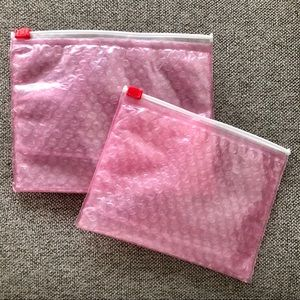 2 Glossier pink bubble makeup travel bag pouches